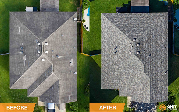before and after of roof replacement in Houston, TX