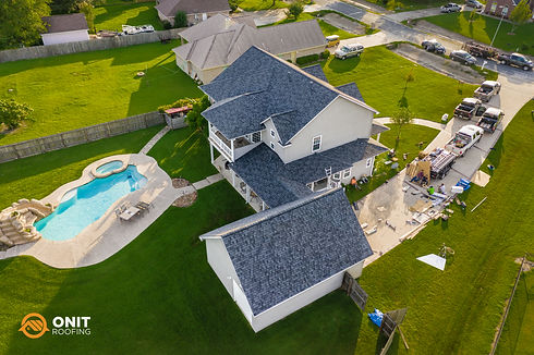 drone photo of a roof replacement in Houston, TX