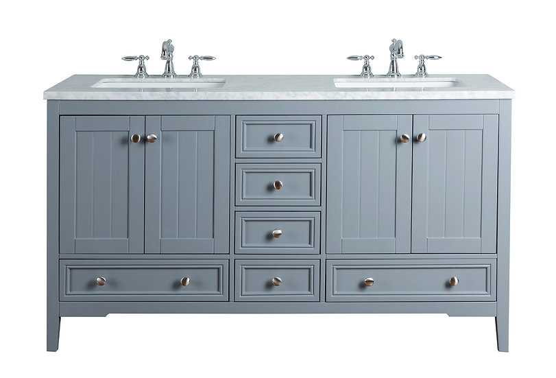 "New Yorker 60"" Grey Double Sink Vanity"
