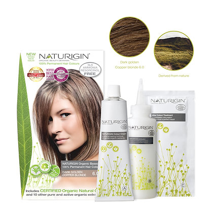 Naturigin 6.0 DARK GOLDEN COPPER BLONDE Permanent ORGANIC Hair Color Dye