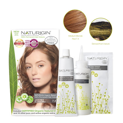Naturigin 7.4 MEDIUM BLONDE RED Permanent ORGANIC Hair Color Dye