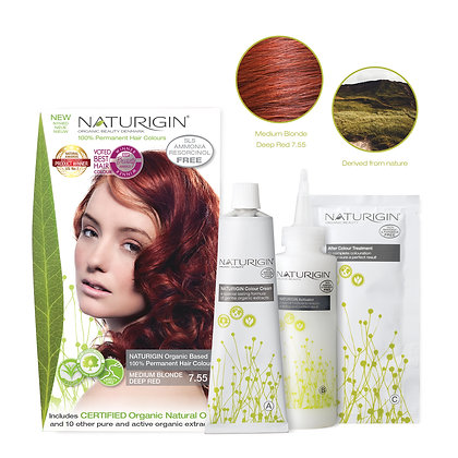 Naturigin 7.55 MEDIUM BLONDE DEEP RED Permanent ORGANIC Hair Color Dye