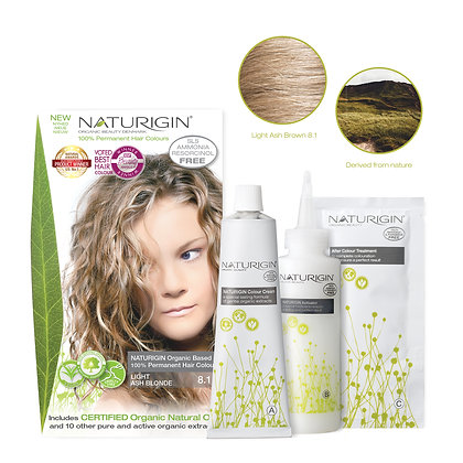 Naturigin 8.1 LIGHT ASH BLONDE Permanent ORGANIC Hair Color Dye