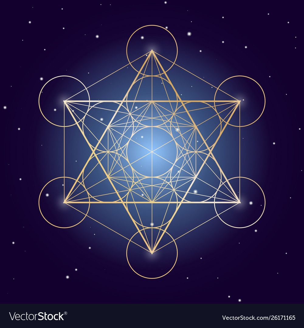 Metatron cube symbol on a starry sky ele