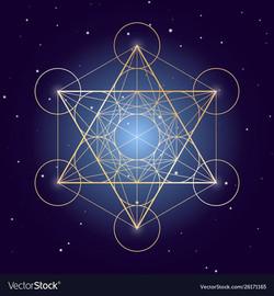 Metatron cube symbol on a starry sky ele
