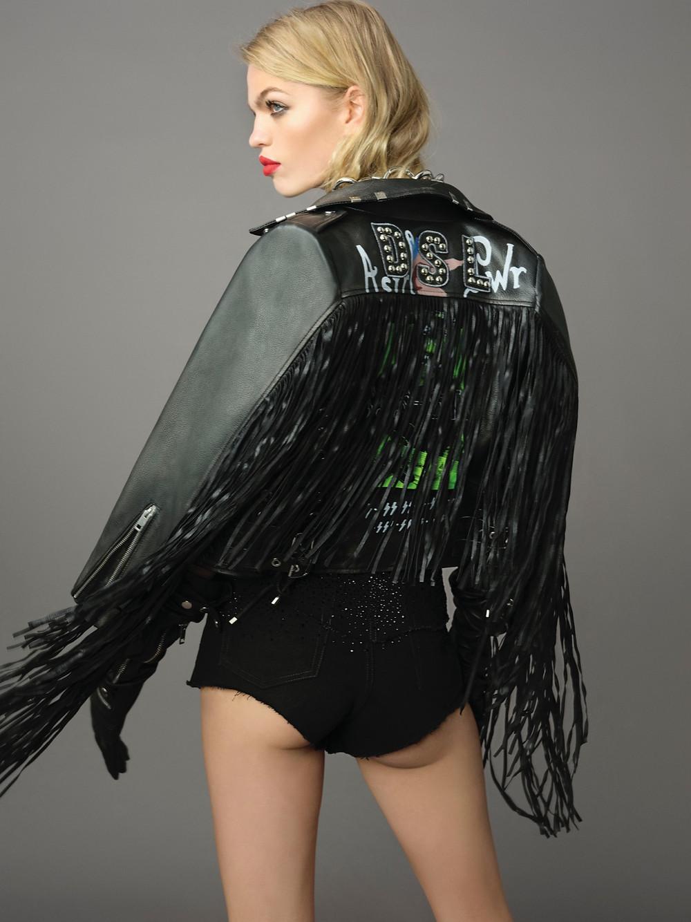 Denim shorts with Swarovski crystals (£750)