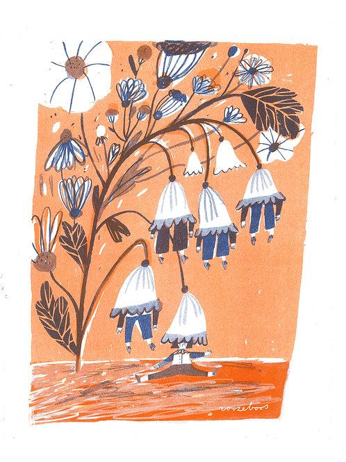 Riso print 'How fairies are born'