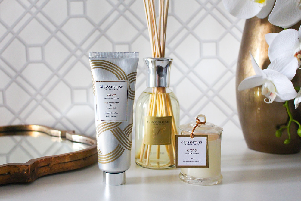 Mr Neo Luxe reviews Glasshouse Fragrances Kyoto Camelia & Lotus candle, handed creme and diffuser