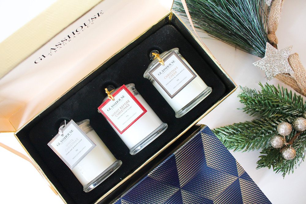 Mr Neo Luxe Christmas Gift Guide Glasshouse Fragrances Christmas Collection Miniature Candle Trio