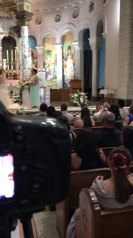 Filming a ceremony in a catholic church.