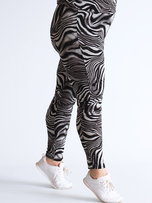 MIX & MATCH LEGGING ZEBRA PRINT ZWART