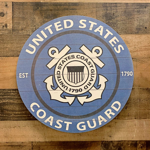"United States Coast Guard Distressed 20"" x 20"" Round Wall Art"