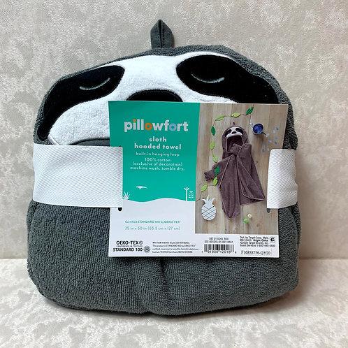 Sloth Hooded Towel Dark Gray - Pillowfort™