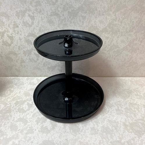 Bathroom Round 2 Tier Accessory Jewelry Tray 'Black