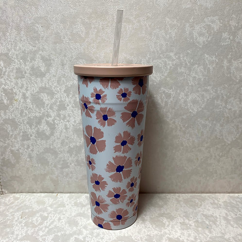 25oz Double Wall Stainless Steel Vacuum Tumbler with Straw