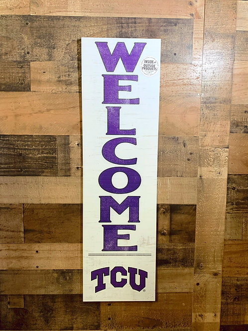 "Texas Christian University Indoor/Outdoor Welcome Sign 35""x10"""
