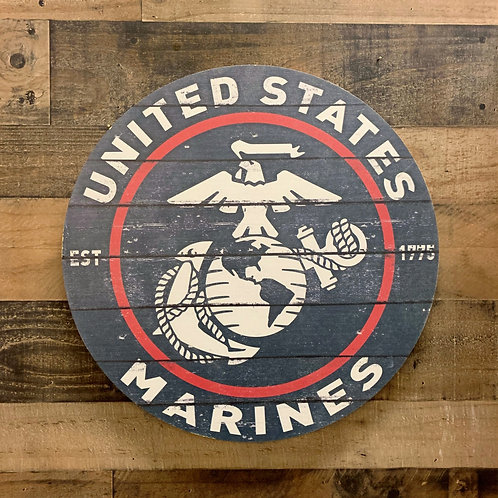 "United States Marine Corps Distressed 20"" x 20"" Round Wall Art"