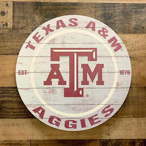"Texas A&M Distressed 20"" x 20"" Round Wall Art"