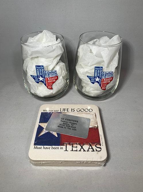 Texas Wine Glasses & Coaster Gift Set