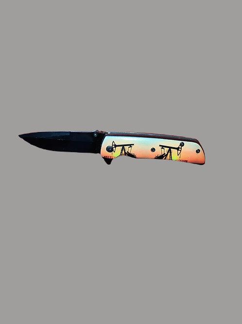 Folding Pocket Knife-West Texas Oilfield Scene