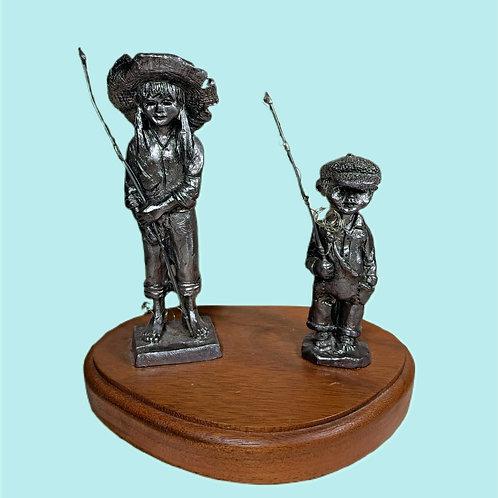 Vintage Pewter Figurines on Wood Base