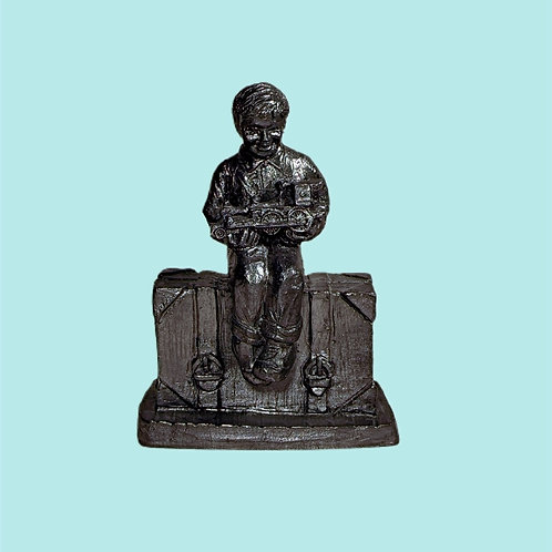 Vintage Pewter Figurine, Little Boy Sitting on Suitcase