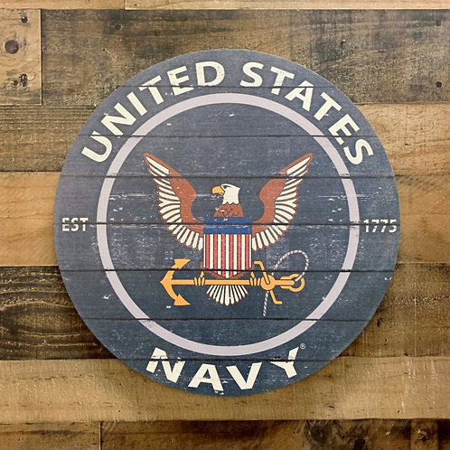 "United States Navy Distressed 20"" x 20"" Round Wall Art"