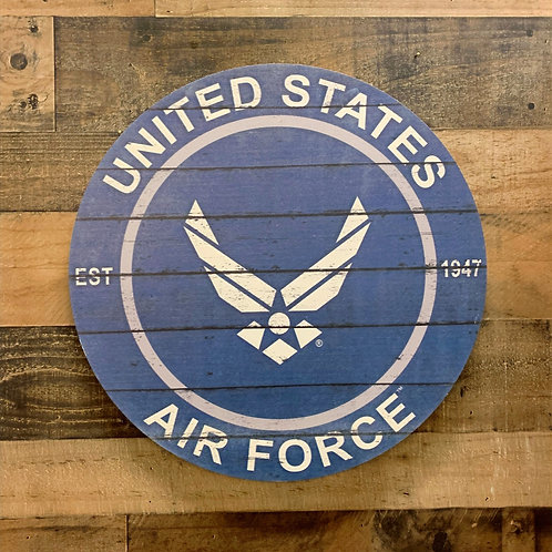 """United States Air Force Distressed 20"""" x 20"""" Round Wall Art"""