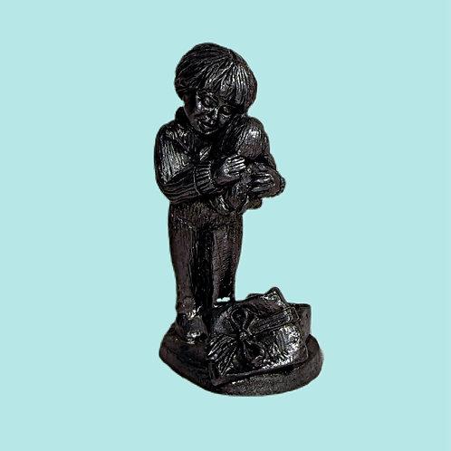 Vintage Pewter Figurine, Little Boy Hugging Bunny