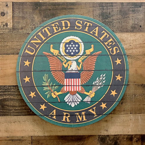 "United States Army Distressed 20"" x 20"" Round Wall Art"