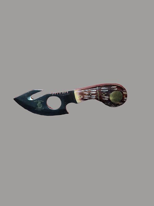 The Bone Collector Hunting Knife w/Leather Sheath-Bone Handle