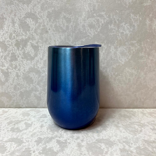 11oz Stainless Steel Vacuum Wine Tumbler with Lid, Blue Ombre