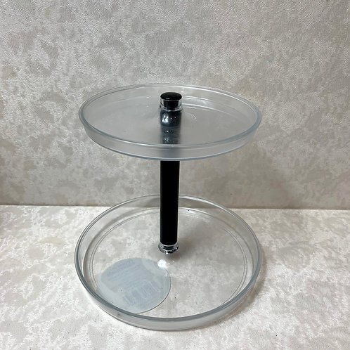Bathroom Round 2 Tier Accessory Jewelry Tray 'Clear
