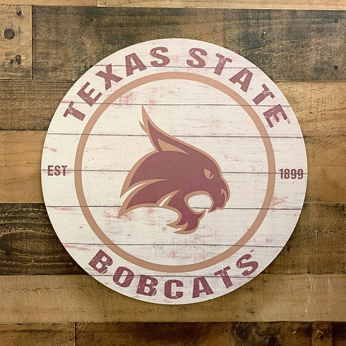 "Texas State Bobcats Distressed 24"" x 24"" Round Wall Art"