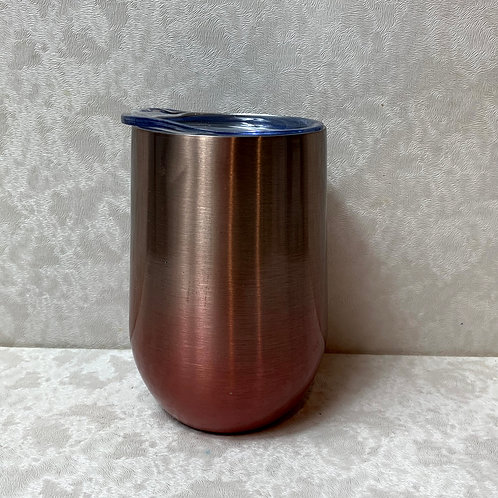 11oz Stainless Steel Vacuum Wine Tumbler with Lid, Pink Ombre
