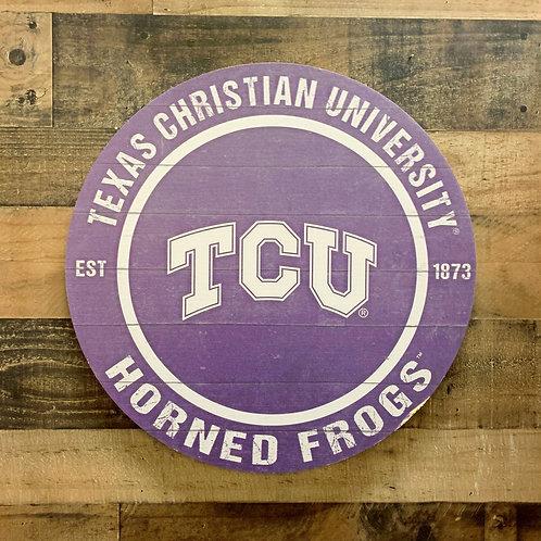 "Texas Christian University Distressed 20"" x 20"" Round Wall Art"