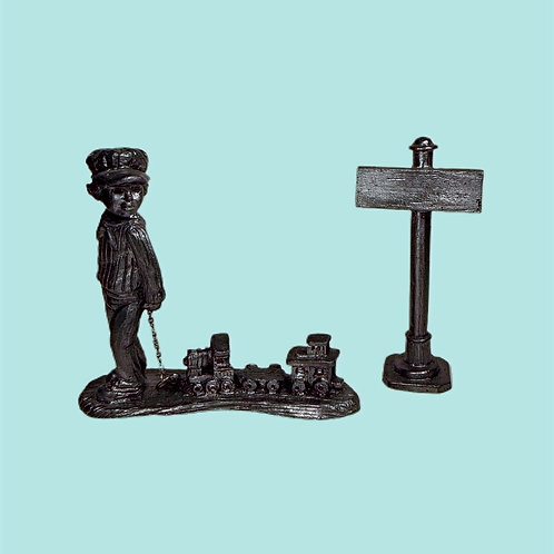 Vintage Pewter Figurine, Little Boy Pulling Train