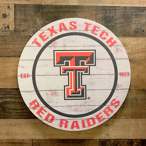 "Texas Tech Red Raiders Distressed 20"" x 20"" Round Wall Art"