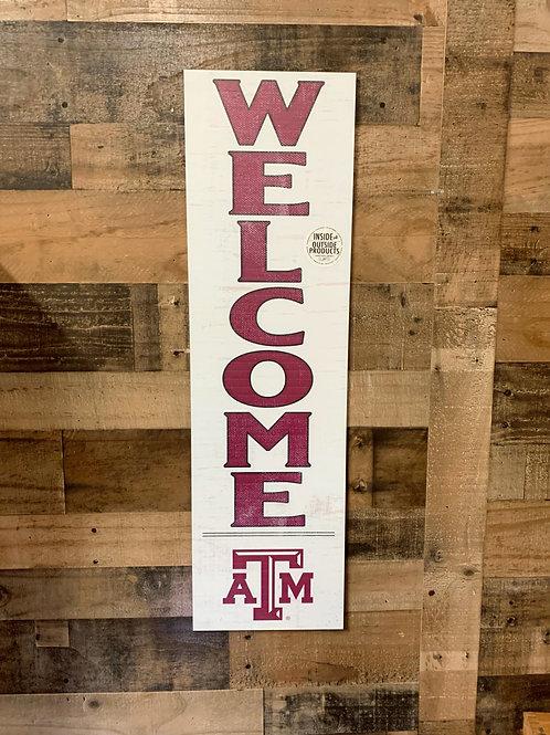 "Texas A&M Indoor/Outdoor Welcome Sign 35""x10"""