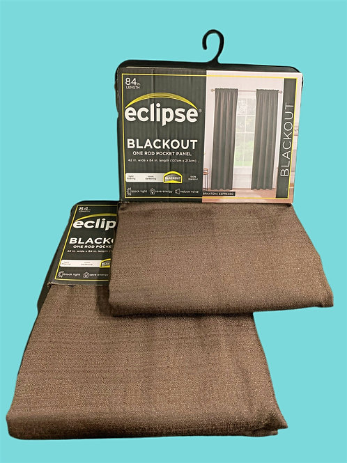 Eclipse Black Out Curtains, Expresso, Set of 2