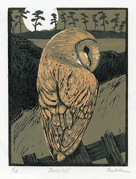 Barn owl linocut