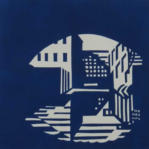 Birmingham canal 2 linocut by Peter Shread.