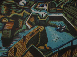 Porthgain colour woodcut by Peter Shread