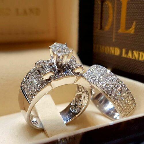 2pcs set White Sapphire 925 Silver Ring