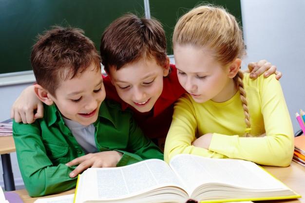 Kids reading micha's books..