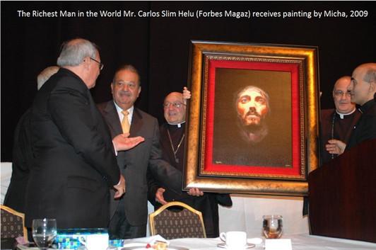 Richest Man in the World  Carlos Slim Helu Receives painting by micha jpg.jpg