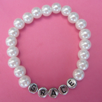 personalized name bracelet pearls
