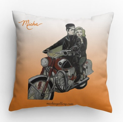 Elvis & Marylin Motorcycle (pillow)