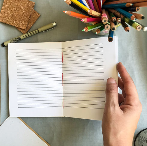 open notebook, lined paper