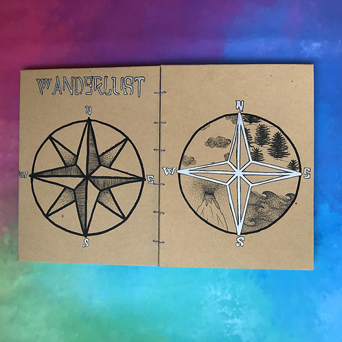 Wanderlust יומן מסע עם איור מקורי של מצפן, פתוח